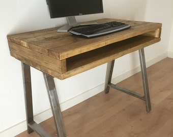 Reclaimed Pine Rustic Box Desk Solid Wood Dressing Table A-Frame Steel legs