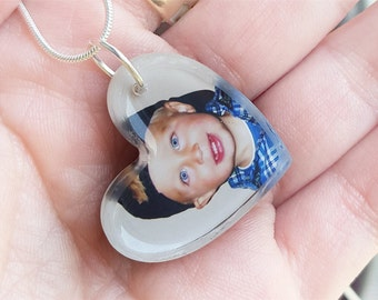 CUSTOM PHOTO NECKLACE - Heart Shape, personalized picture jewelry, custom photo, transparent glass-like double sided pendant, photo charm
