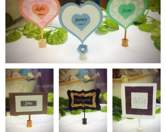 Place cards, name cards with wooden stand for weddings / events. You choose shape and colour- mint green,grey, purple,pastel, kraft
