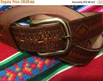 Sale Leather belt w/ brass buckle