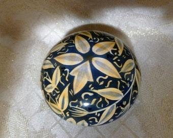 Vintage Wooden Trinket Box Unique Design Teal Color