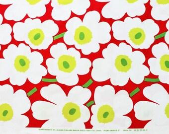 Marimekko cotton fabric, red/white/lime Pieni Unikko 145x50cm, by Maija Isola
