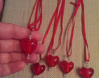 On Sale Valentine Heart Glass heart necklace was 5.00 now 2.50