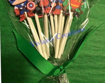 Super heroes cupcake toppers