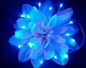 Clearance- White Dahlia with Blue LEDs Light Up Flower Fairy Hair Clip