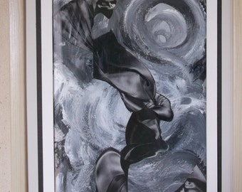 Mixed Media collage in black, white and gray