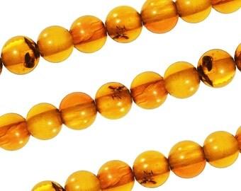 15 1/2 IN Strand 4 mm Natural Amber Round Smooth Gemstone Beads (AMBRND0004)