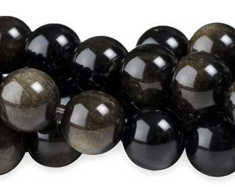 15 IN Strand 10 mm Mexican Obsidian Round Smooth Gemstone Beads (XBS100104)
