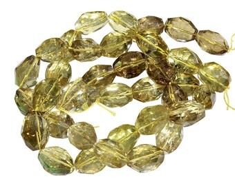 16 IN Strand 16x20 mm Lemon Quartz Nugget Faceted Large Gemstone Beads (LQ100100)