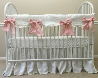 White Rail Covers w. Pink Bow Ties, White crib rail guard, crib rail cover, bumperless crib bedding, linen crib bedding