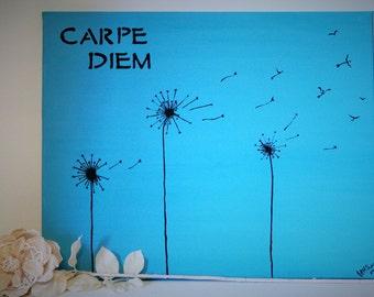Carpe Diem- Birds - Dandelions in the Wind- Simple Wall Art- Blue and Black - Customizable - Dandelions to Birds - Canvas Painting