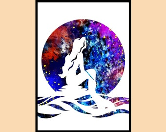 The little Mermaid,Princess Ariel,Watercolor , Disney Princess,Watercolor Art,Kids Room Decor,Poster,Instant Download