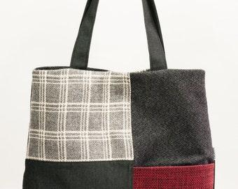 Black fabric bag. Gray bag. Red hand bag. Shoulder bag. Daily bag.