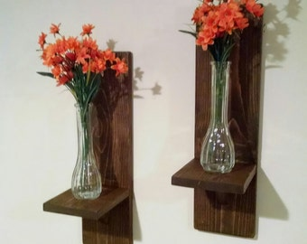 Rustic Wood Sconce, Rustic Home Decor, Rustic Sconces, Wall Decor, Mason Jar Sconces, Mason Jar Shelves