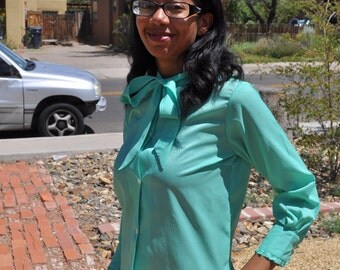 Vintage 1960s Teal Tie Front Button Down Blouse with Ruffle Trim