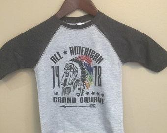 3/4 sleeve baseball tee,, boys tee,indian head tee,boy's graphic tee,boys tshirt, boys shirt, little boys shirt, glitterngrit designs