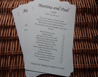 I spy cards for a wedding reception, 10 'I spy' cards, I spy game , Wedding activities, wedding day, wedding reception, decorations