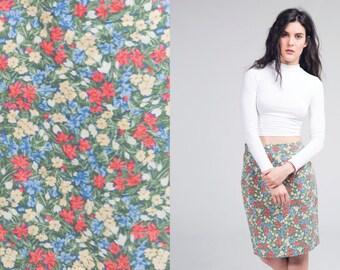laura ashley green floral skirt / high waisted multicoloured cotton skirt / vtg 80s / s