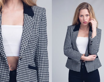 black dogtooth blazer / houndstooth wool blazer with corduroy collar  / vtg 80s / s