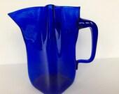 RARE Blenko cobalt blue glass pitcher. Blenko pitcher 8410L in cobalt blue with 4 sides and unusual 4 sided spout. Rare Blenko pitcher.