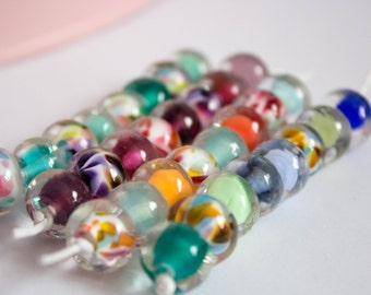 Jelly Doughnut Maxi Sets - Bright Lampwork Glass Beads - Artisan Doughnut Beads - Encased Glass Beads - UK Handmade - Bright Coloured Beads