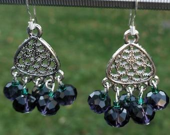 Purple and green ties earrings silver