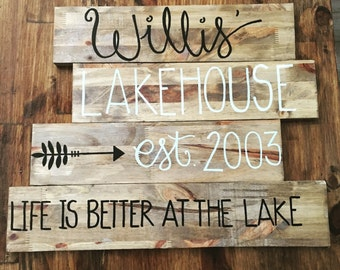 Rustic wood house sign, lake house sign, beach house sign, home decor, customized wood sign