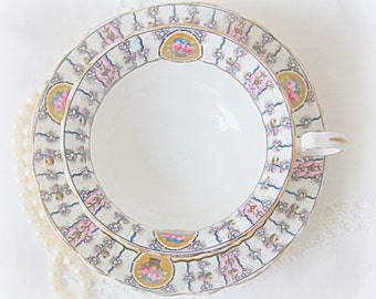 Antique Aynsley Porcelain Teacup and Saucer, Numbered, Handpainted Striped Floral Pattern and Floral Medaillons, England