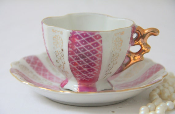 Vintage Porcelain Demitasse Cup and Saucer, Small Teacup and Saucer, Pink, White and Gold