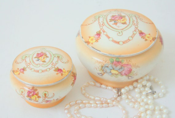 Set of Two Rare Antique Devon Ware Semi-porcelain Small Bowls with Lid , Flower Pattern, Handpainted, Edwardian Style,England