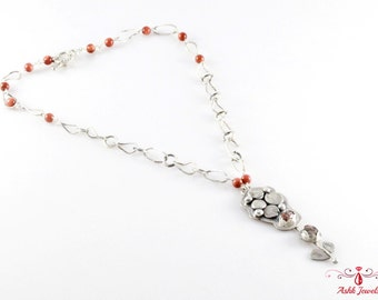Handmade Sterling Silver Necklace with Gold Stone & Jasper Cabochon