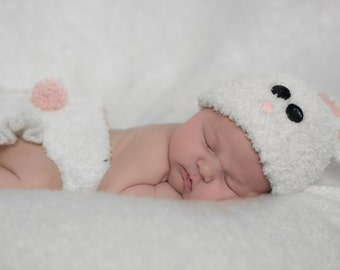 Bunny Hat and Diaper Cover Newborn