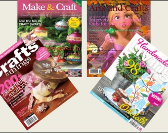 4 Miniature  'ARTS & CRAFTS'   Magazines  -  Dollhouse 1:6th  1/12th  1/24th  1/48th  scale