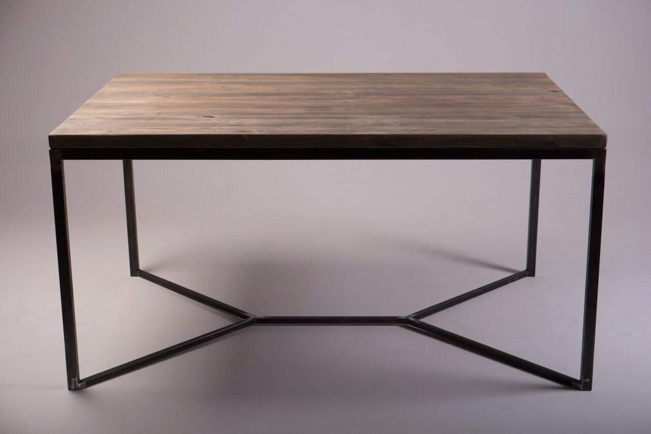 solid industrial dining table. Black Bedroom Furniture Sets. Home Design Ideas