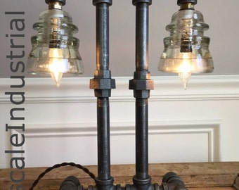 Steampunk Lamp  /Industrial lighting / Pipe Lighting / Pipe Lamp / Glass Insulator Light / Steampunk Lighting  / Bankers Lamp