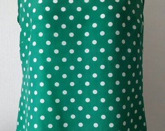 Green and white spotty top, sleeveless blouse,polka dot top, size 12 shell top,green polka dot top, spotty blouse, emerald green top