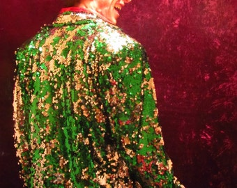 """Green and Silver """"reversible sequins"""" Jacket"""