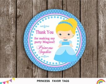 Cinderella Thank You Tags, Princess Favor Tags Birthday Printable, Cinderella Birthday Party, Princess Gift Tags