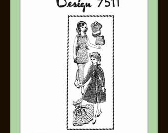 "PDF 11-1/2"" DOLL like Barbie® Crochet Vtg Design 7511 WARDROBE Craft Shift, Gown, Shorts, Slacks, Slipover, Coat, and Hat Shown"