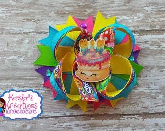 Shopkins Hair Bows, Shopkin Cake Hair Bow, Shopkins Birthday Wishes Cake Hair Bow, Shopkins Birthday Hair Bows, Shopkins Birthday, Shopkins.