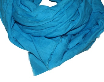 Turquoise Hand-Dyed Linen Scarf / Women's Scarf / Linen Scarf / Large Scarf / Blue Scarf / Turquoise Scarf / Over-Sized Scarf / Hand-Dyed