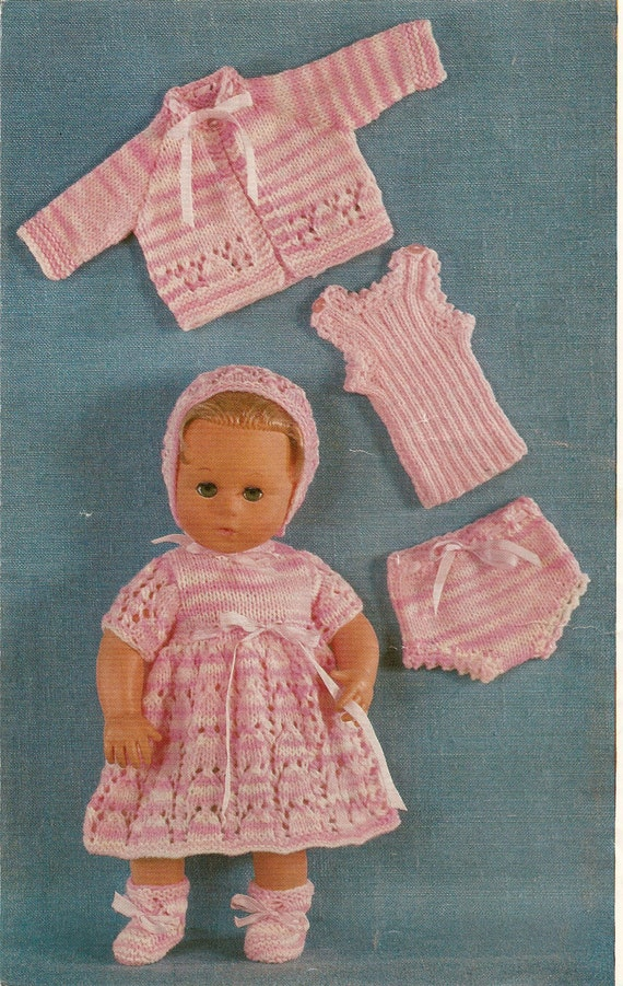 Knitting Pattern Dolls Coat Dress Bonnet Vest Pants And