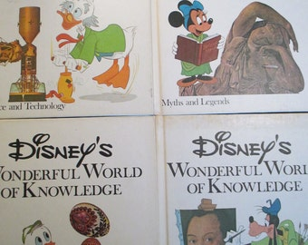 Vintage Disney's Wonderful World Of Knowledge Books 9-12,Children's Books, Book Set, Book Collection, Home Decor Book Decor Nursery-Set of 4