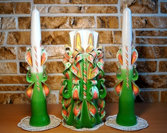 Wedding Candles Set-carved candles, wedding gift candles handmade-carved candles, Interior candles Beautiful green candles