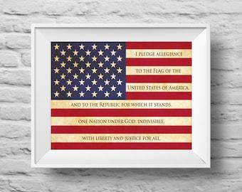 I PLEDGE ALLEGIANCE American Flag unframed art print Typographic poster, inspirational print, patriotic, wall decor, quote art. (R&R0144)