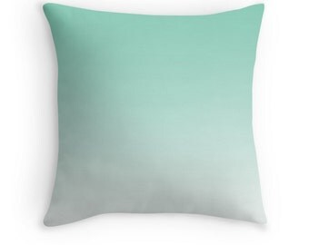 Ombre Green Mint Pillow Cover Indoor or Outdoor Material Cushion Lucite Green Shades Pantone 14x14 16x16 18x18 20x20 26x26  Square