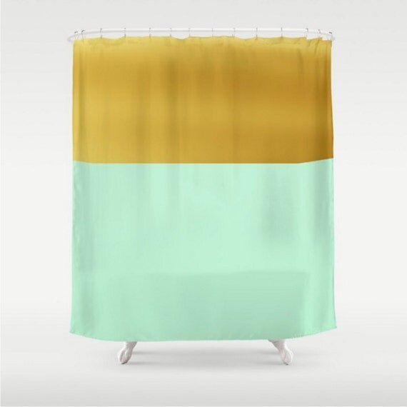 Shower Curtain Mint And Gold Design Light Green Home Bath Room
