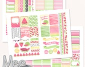 Watermelon planner stickers,printable planner stickers,Watermelon Sticker Set,Printable EClp Stickers,watercolor,cut lines file