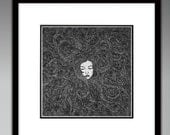 Girl's Hair Illustration Print - Beauty, Woman, Detailed, Black and White, Style