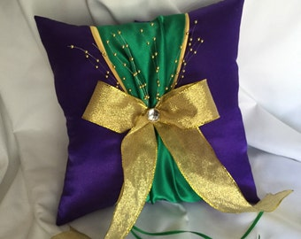 Mardi Gras Wedding Ring Pillow, Purple Green and Gold Ring Pillow
